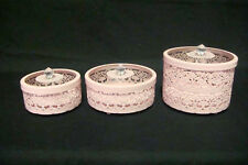 3 Set PINK Metal Lace Cut Jewellery / Trinket Boxes