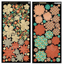 Graphic45 Die-Cuts RAINING CATS AND DOGS FLOWERS scrapbooking Vintage