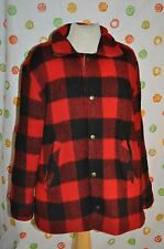 vintage A. POLLAK RED PLAID WOOL mens L sherpa lined COAT farm barn ACRYLIC