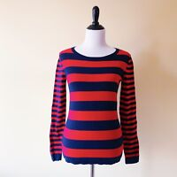 Tommy Hilfiger Womens Crewneck Striped Sweater Nautical Navy Blue Red Small