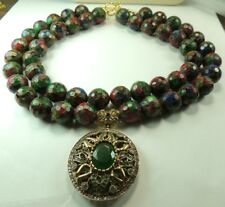 Statement 2 Strand Mosaic Quartz Necklace with Simulated Emerald Mother of bride