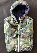Hanna Andersson Boys Warmest Down Jacket 100 (4) Reversible Camo Blue Hooded