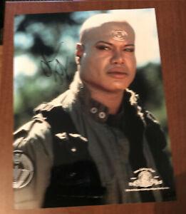 Stargate SG-1 Teal'c the Jafar Signed A4 photo Christopher Judge
