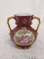 Vintage Limoges La Reine Small Vase Burgundy Red With Gilding Depicting Lovers