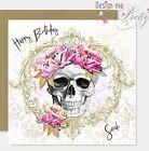 SKULL AND FLOWERS PERSONALISED Birthday Card - Biker Tattoo Rocker Skulls Punk