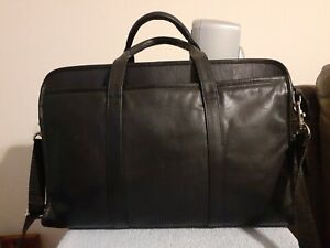 WILSON BLACK LEATHER COMPUTER BRIEFCASE, WITH SHOULD STRAP AND TOP HANDLES EUC
