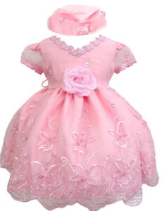Hermosala Baby Girl Toddler Pink or Lilac Easter Wedding Formal Party Dress Hat