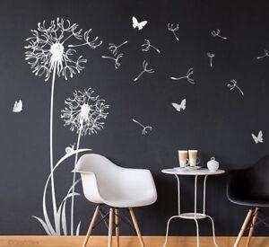 Wandtattoo Pusteblume Flugsamen Schmetterlinge Weiß Löwenzahn Tattoo w306e