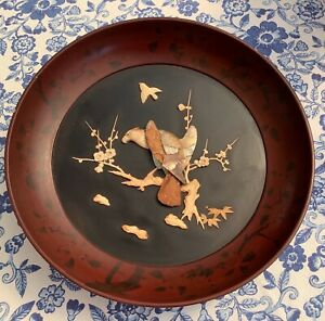 Antique Japanese 19th century Shibayama wooden wall plaque eagle flowers bird