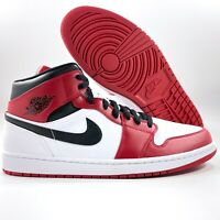 Nike Air Jordan 1 Mid Chicago White Heel Gym Red Black 554724-173 Men's 10