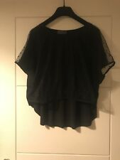 Emin & Paul Black Polka Dot Sheer Front Oversozed Top Sz Small
