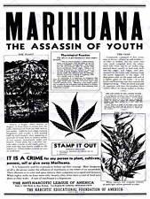 Avviso di consapevolezza DELLA DROGA MARIJUANA ERBA CANNABIS panico USA art print poster bb7395
