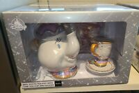 Disney Parks Mrs Potts Tea Pot with Chip Tea Cup & Saucer Set Beauty & The Beast