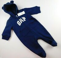 NWT Gap Baby Boy 1Pc Hooded Footed Outerwear Navy Blue Front Zip 0-3M New