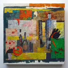 "Original NATASHA KOSTAN mixed media COLLAGE PAINTING art ON CANVAS ""Celebrate 1"""
