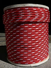 "Sailboat Rigging Rope 3/8"" x 150' Red/White Double Braided Sheet Halyard Line"
