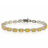 Natural Citrine Tennis Bracelet in Solid 925 Sterling Silver Women's Jewelry