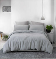Washed Cotton Duvet Cover Set Bedding Home Decor Soft Cozy Solid Breathable PHF