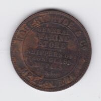 1857 TOKEN Robert HYDE & Co MELBOURNE General Marine Store Shippers Glass Rags