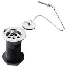 Sink Plug and Chain Waste Bathroom Basin Chrome Slotted Drain