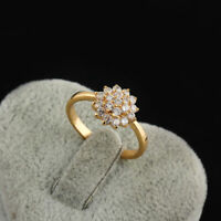 Women Fashion Yellow Gold Plated Zircon Flower Rhinestone Finger Ring