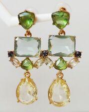 Chandelier Ohrringe Vintage Strass Glas Tropfen hell grün türkis gelb antik gold
