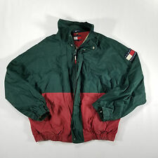Tommy Hilfiger Green Maroon Full ZIp Cotton Windbreaker LARGE VTG 90s Spell Out