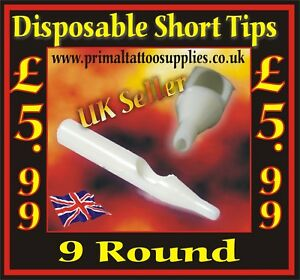 Disposable Short Tips 9 Round - Box of 50  - (Tattoo Needles - Tattoo Supplies)