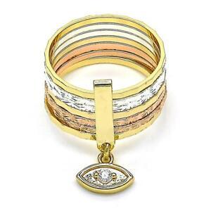 14K GOLD PLATED TRI-COLOR SEMINARIO RING/EVIL EYE W/ CZ SIZES 5.5, - 8.5  M104-7