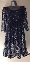 Reborn Blue & White Tunic Dress Size L BNWT Soft Rayon Blend Fabric