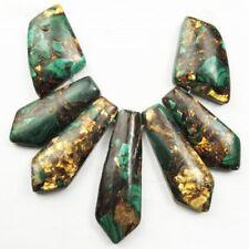 7Pcs/Set Malachite & Gold Copper Bornite Stone Difform Pendant Bead X26055