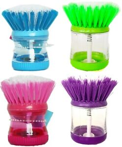 Soap Dispensing Washing Up Scrubber Brush Sponge Dishes Cleaning Kitchen Wash