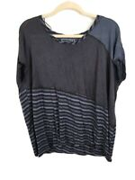Free People asymmetrical oversized striped t-shirt navy blue size extra small