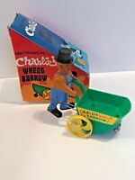 VINTAGE CHARLIE'S  WHEEL BARROW WIND UP TOY works In box  (A)