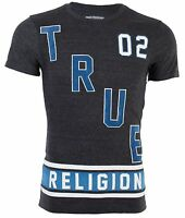 TRUE RELIGION Mens T-Shirt DEFENSE Jet Black Blue White $81 Jeans NWT