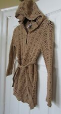 Gap Girls sz S 6-7 Mocha brown hooded tie up button up crochet knit cardigan