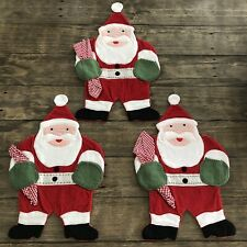 Pottery Barn Kids Santa Claus Placemats Christmas Holiday Table Set of 3 Party