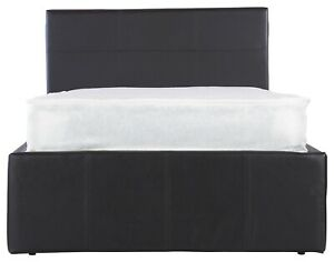 4FT6 Double Black Faux Leather Space Saver SideLift Bed Clearance 99p Brand New