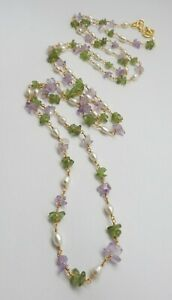 Natural Gemstone Amethyst Peridot Pearl Rosary Chain 22K Gold Necklace 38 ""