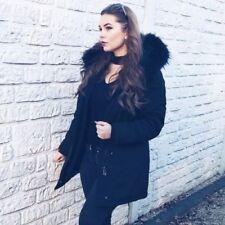 Damen Winter Arctic Mantel Parka Jacke mit Echtfell Pelz Fell schwarz grau olive