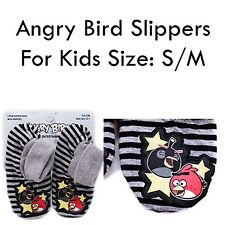Angry Birds Slipper Socks Red Bomb Black Striped with Grippers Shoe Sz S/M 12-1