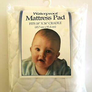 "NOS Cradle Size 18"" X 36"" Waterproof Quilted Mattress Pad Cover Fitted USA Made"
