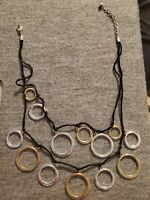 Black Two Layers Statement Necklace With Silver And Gold Tone Rings