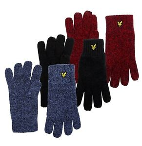 Mens Lyle And Scott Comfortable Ribbed Cuffs Wool Nylon Vintage Gloves
