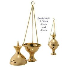 Burner/Censer Brass Charcoal, Incense, Resin-With Decorative Hanging Chain 6 In.