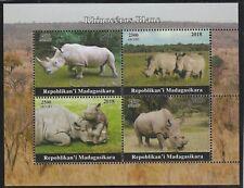 Madagascar 7685 - 2018   RHINOS  perf sheet of 4 unmounted mint