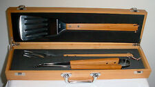 Solid Wood BBQ Tool Set With Presentation Box