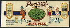 Vintage 1920's Penrod June Peas Can Label Littlestown, PA