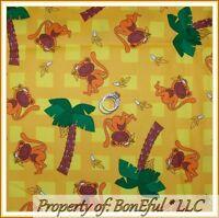 BonEful FABRIC FQ Cotton Yellow Brown Plaid MONKEY Palm Tree Green Safari Banana