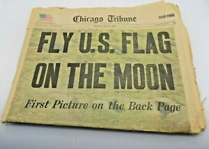 Chicago Tribune July 21,1969 Fly U.S Flag On The Moon W/ Poster Supplement (M1)